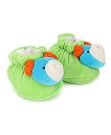 Cute Walk Booties Animal Face Accent - Green Blue