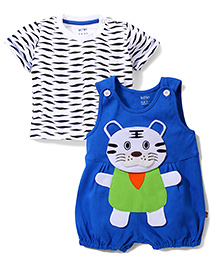 Wow Romper With Inner T-shirt Tiger Path Work - Blue