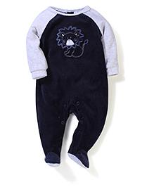 Vitamins Baby Lion Print Romper- Navy Blue & Light Gray