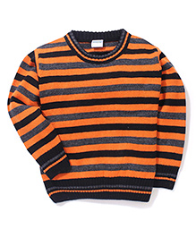 Babyhug Striped Round Neck Sweater - Orange