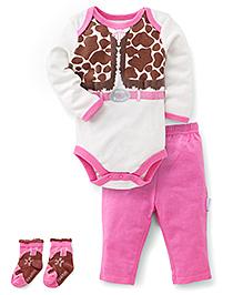 Vitamins Baby Cow Girl Print Set - Pink & White
