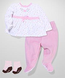 Vitamins Baby Heart & Dot Print Set - Pink & White