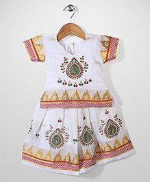 Babyhug Half Sleeves Pavadai Set Embroidery Work - Off White