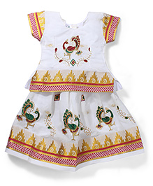Babyhug Half Sleeves Pavadai Set - White and Red