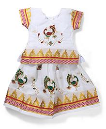 Babyhug Half Sleeves Pavadai Set - White and Red