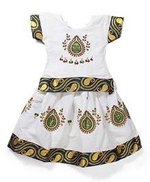 Babyhug Half Sleeves Pavadai Set - White and Green