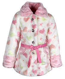 Cutecumber Full Sleeves Heart Print Jacket With Ribbon Belt - Pink