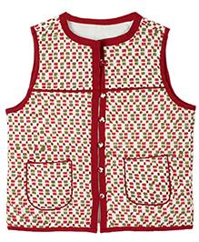 My Li'l Lambs Square Print Sleeveless Jacket - Red