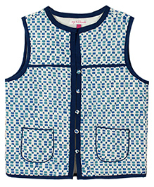 My Li'l Lambs Square Print Sleeveless Jacket - Blue