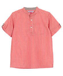My Li'l Lamb Stripe Kurta T-Shirt - Pink