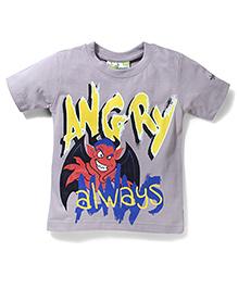 Grasshoper Juniors Glow in Dark Angry Bird T- Shirt - Grey