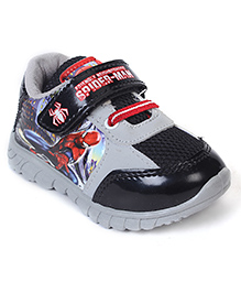 Spider Man Casual Shoes With Velcro Closure - Grey Black