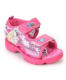 Barbie Sandals Dual Velcro Straps Sequin Work - Pink