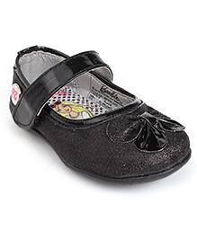 Barbie Belly Shoes Bow Applique - Black