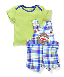 Baby Starters Dungaree Style Romper With T-Shirt - Green & Blue