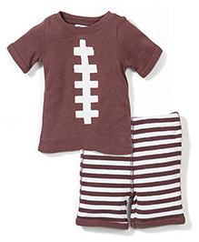 Mud Pie T-Shirt & Pant Set - Brown