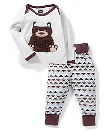 Mud Pie Bear Printed Nightwear Set - White & Brown