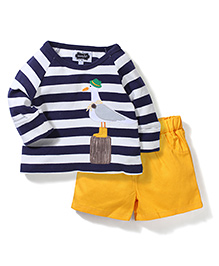 Mud Pie Bird Printed T-Shirt & Shorts - Blue & Yellow