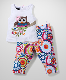 Mud Pie Top With An Owl Patch & Printed Pant - Multi Color