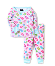 Mud Pie Sparrow Birdie Print Top & Leggings Set - Pink & Blue
