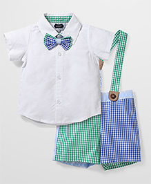 Mud Pie Checks Print Shirt Set - White, Skyblue & Green