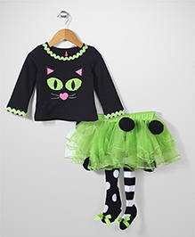Mudpie Cat Face with Frilled leggings - Black & Green