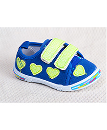 Peach Girl Glittery Heart Shoes - Blue And Lime