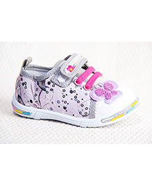 Peach Girl Butterfly Print Shoes - Grey
