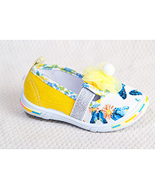 Peach Girl Pretty Floral Shoes - Yellow