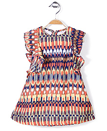 Pinehill Ruffle Sleeves Dress Abstract Print - Yellow Peach