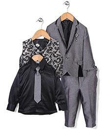 Babyhug 4 Pieces Party Wear Set With Brooch & Tie - Grey