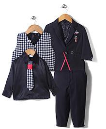 Babyhug 4 Pieces Party Suit With Printed Tie - Black