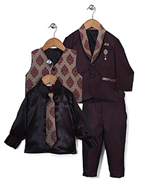 Babyhug 5 Piece Party Suit With Brooch - Maroon