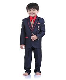 Babyhug 4 Piece Party Suit With Tie - Navy Red