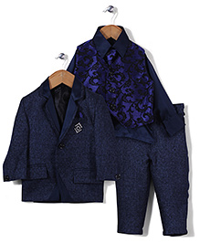 Babyhug 4 Piece Party Suit With Tie - Blue
