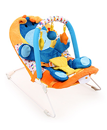 Sunbaby Musical Bouncer With Animal Cushioning - Orange And Blue