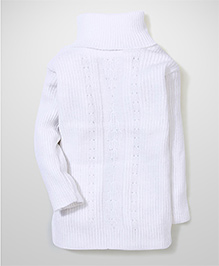 Babyhug Full Sleeves Sweater - White