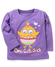 Babyhug Full Sleeves Top Bird Print - Purple