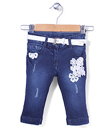 Tiny Girl Capri With Belt Stone Work - Blue