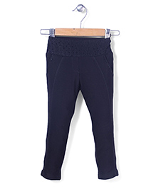 Tiny Girl Full Length Jeggers Stone Work - Navy