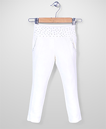 Tiny Girl Full Length Jeggers Stone Work - Off White