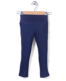 Tiny Girl Full Length Jeggers Stone Work - Dark Blue