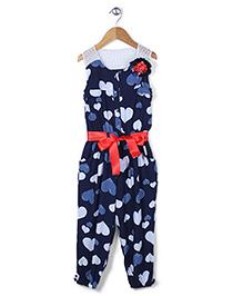 Tiny Girl Gathered Waist Heart Print Jumpsuit - Blue