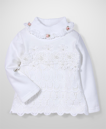 Tiny Girl Full Sleeves Party Wear Top Floral Applique - Cream