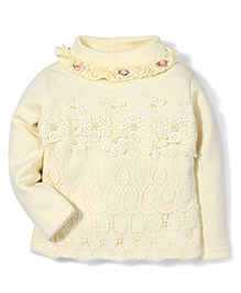 Tiny Girl Full Sleeves Party Wear Top Floral Applique - Yellow
