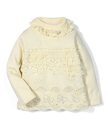 Tiny Girl Full Sleeves Party Wear Top Floral Applique - Light Yellow