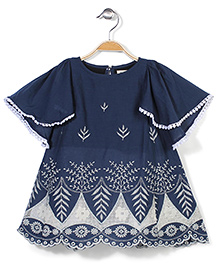 Pinehill Flutter Sleeves Frock Floral Embroidery - Navy