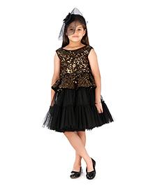Kidology Noir Sequins Dress -  Black & Gold