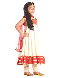 Kidology Anarkali Set - Red & Ivory