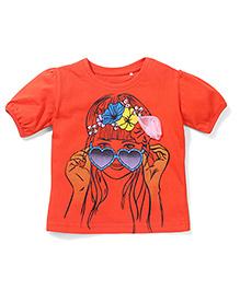 Babyhug Short Sleeves Top Floral Applique - Orange